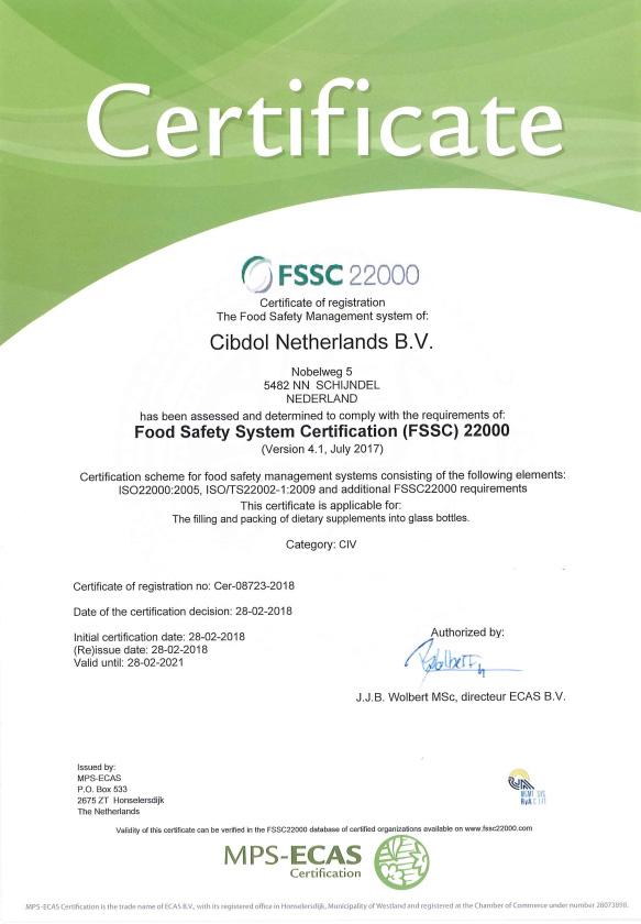 Cibdol qualité La certification FSSC22000